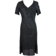 1980s Krizia Black Linen Sequins Long Summer Sheath Dress