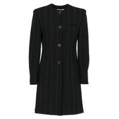 1980s Krizia black pinstriped long blazer