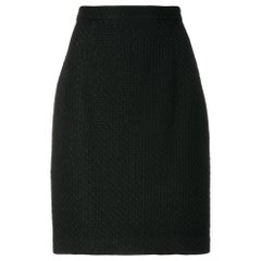 1980s Krizia Black Quilted Skirt