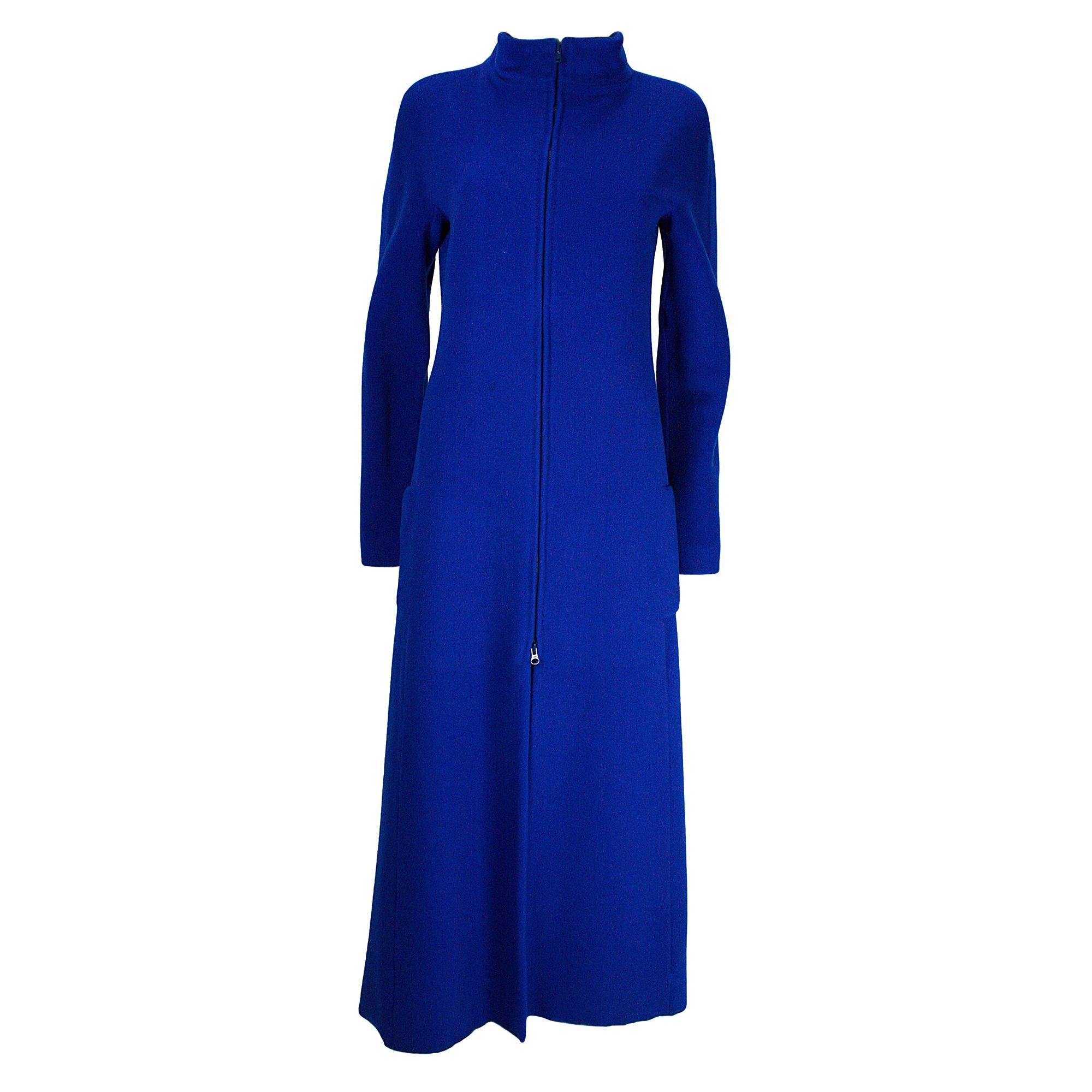 1980s Krizia Blue Wool Double Zip Coat