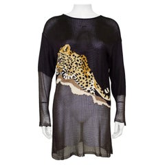1980s Krizia Brown Knit Tunic Length Sweater with Leopard
