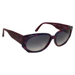 1980s Krizia Burgundy & Navy Blue Sunglasses