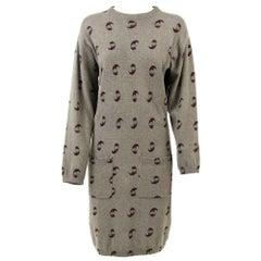 1980s Krizia Green Wool Dress
