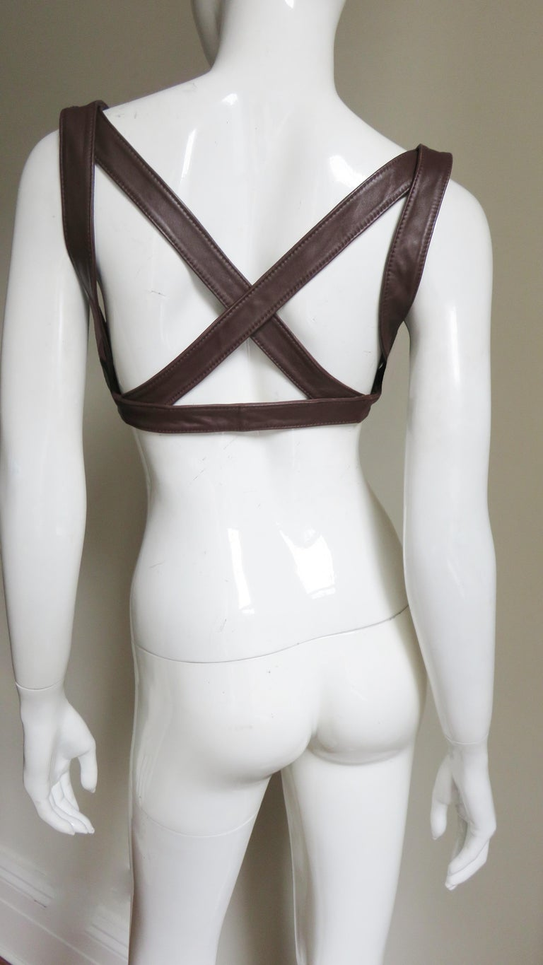 Krizia Leather Harness 1980s In Good Condition For Sale In New York, NY