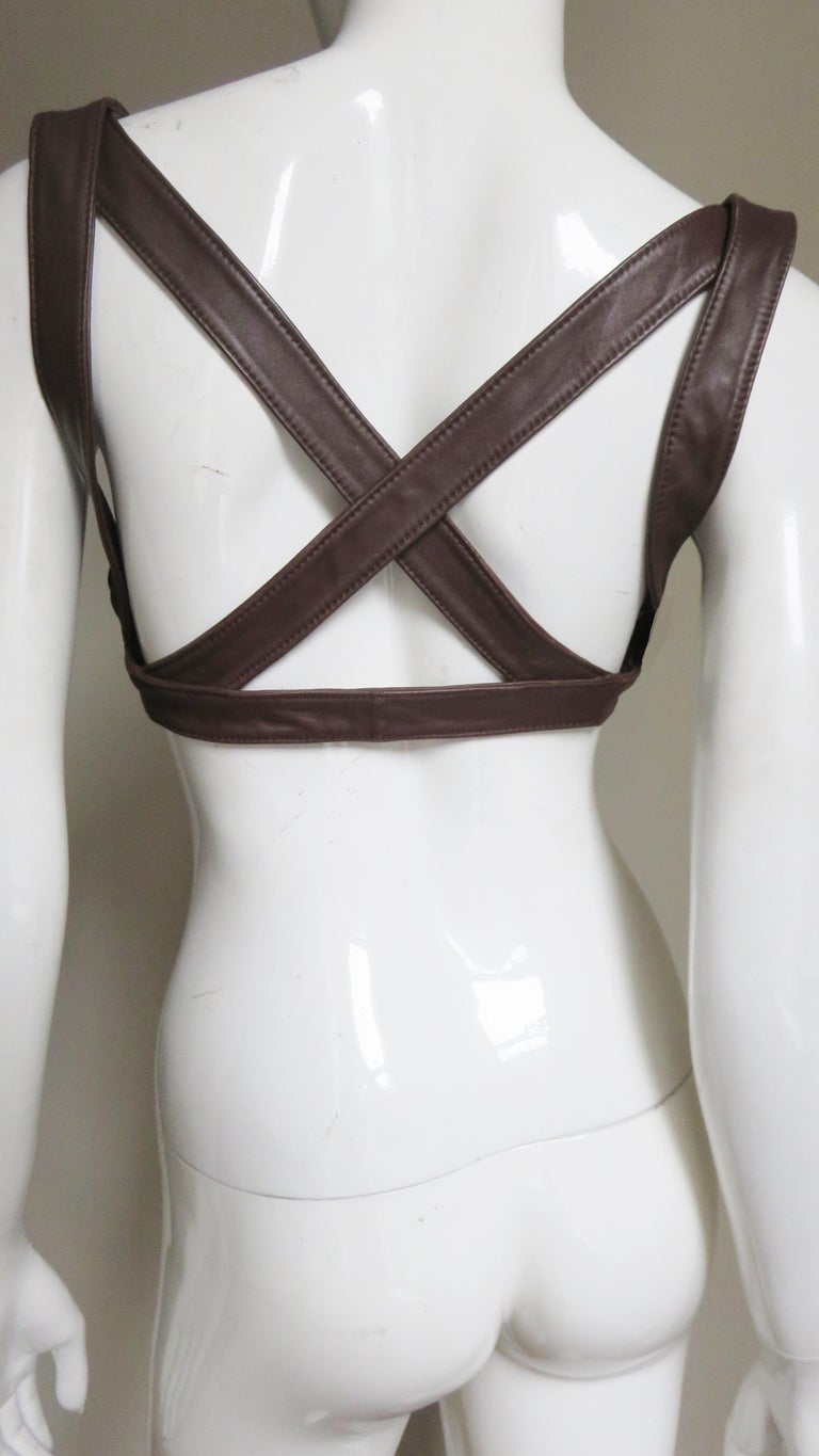 Black Krizia Leather Harness 1980s For Sale