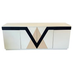 1980s Lacquered Postmodern Geometric Credenza