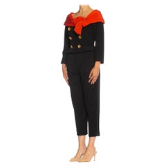 1980S LACROIX Black & Red Haute Couture Silk Crepe Fitted Jacket With Off Shoul