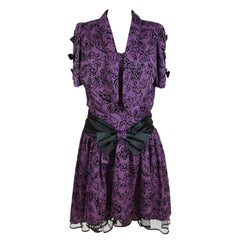 1980s Lady Anne Fashion Purple Oversize Tulle Balloon Floral Vintage Dress
