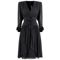 1980s Lanvin Black Silk Chiffon Pleated Dress With Bow Embellishment