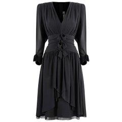 1980s Lanvin Black Silk Chiffon Pleated Dress With Bow Embellishment