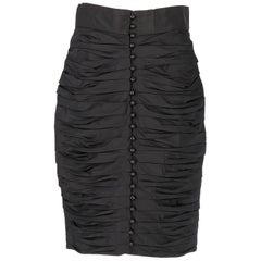 1980s Lanvin Black Vintage Pencil Skirt