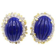 1980s Lapis Lazuli Diamond Two-Color Gold Ear Clips