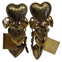 1980s Large Dangling Charm Earrings