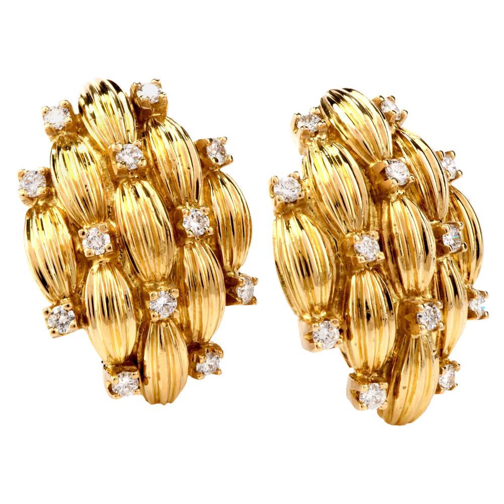 1980s Large Diamond 18 Karat Yellow Gold Clip Back Earrings