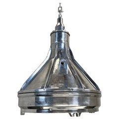 1980's Large Industrial Cast Aluminum & Glass Ceiling light Pendant