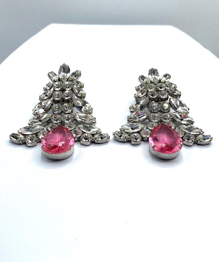 1980s Large Round and Marquise Rhinestone Earrings with Pink Crystal Stone For Sale 9