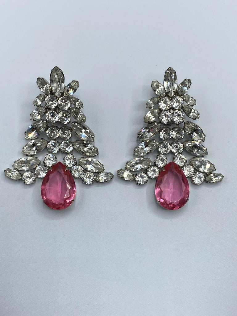 1980s Large Round and Marquise Rhinestone Earrings with Pink Crystal Stone For Sale 11