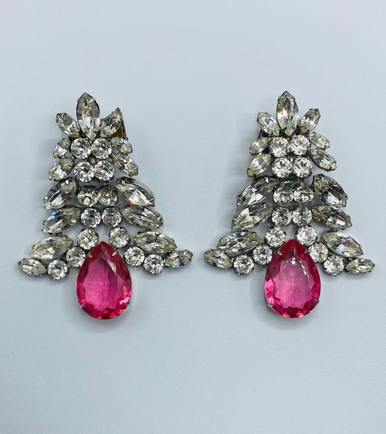 1980s Large Round and Marquise Rhinestone Earrings with Pink Crystal Stone For Sale 12