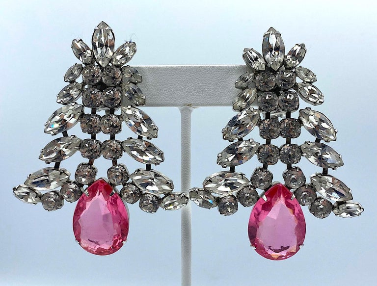 Pear Cut 1980s Large Round and Marquise Rhinestone Earrings with Pink Crystal Stone For Sale