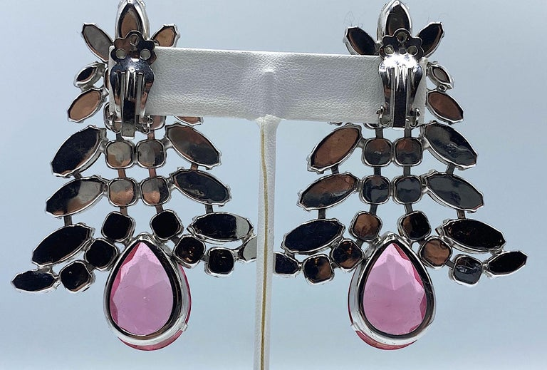 1980s Large Round and Marquise Rhinestone Earrings with Pink Crystal Stone For Sale 1