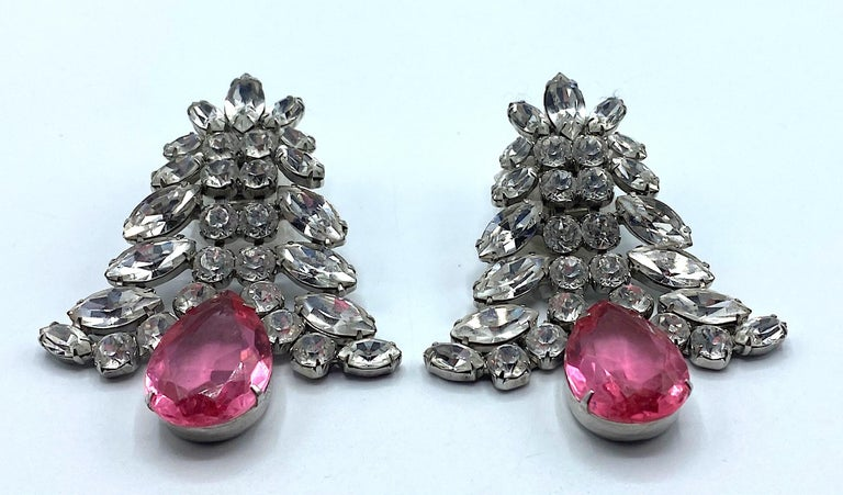 1980s Large Round and Marquise Rhinestone Earrings with Pink Crystal Stone For Sale 3