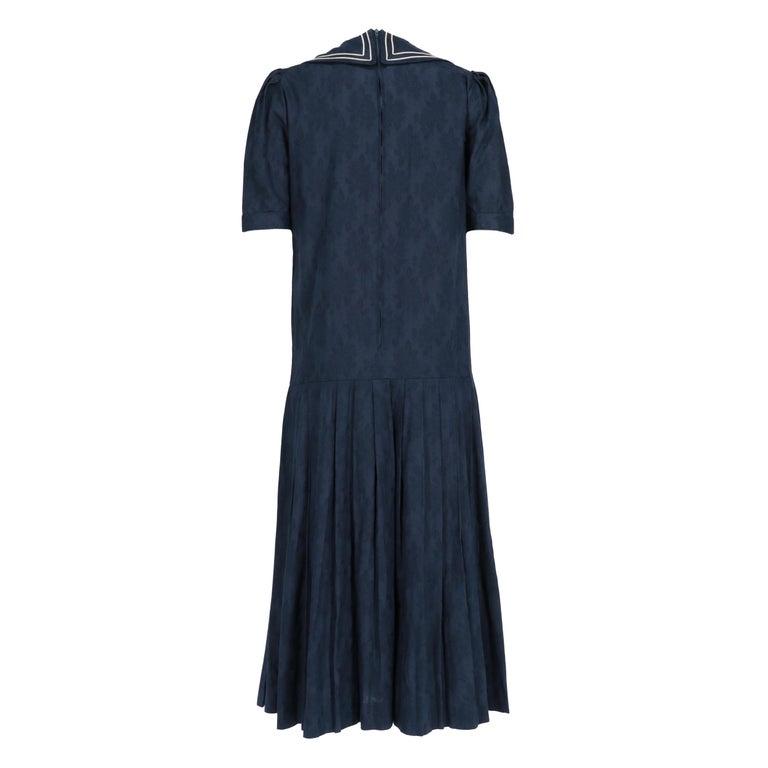 Black 1980s Laura Ashley Blue Dress For Sale