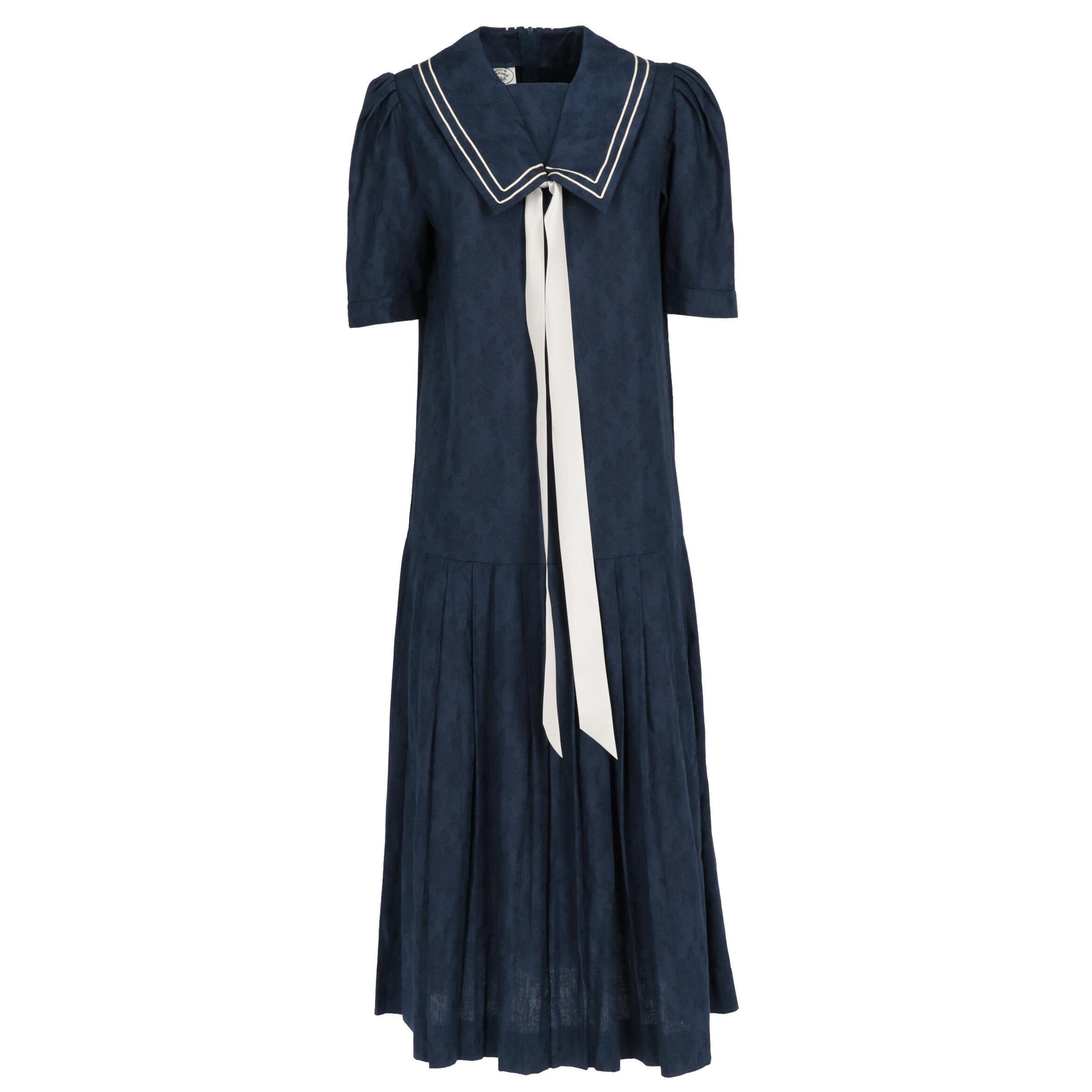 1980s Laura Ashley Blue Dress
