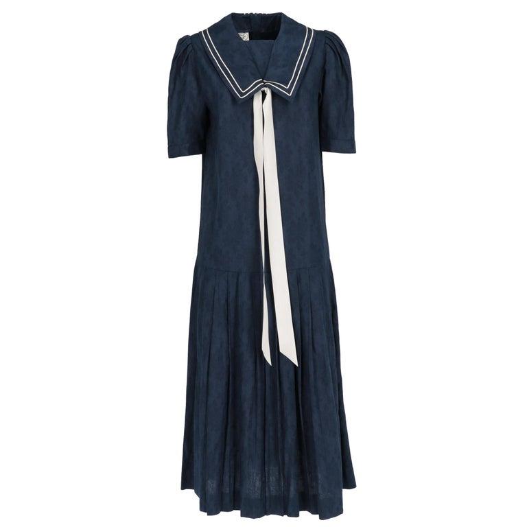 1980s Laura Ashley Blue Dress For Sale