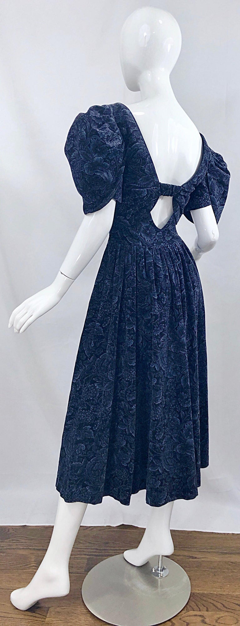 1980s Laura Ashley Batsheva Navy Blue Velvet Open Back Vintage 80s Midi Dress  For Sale 7