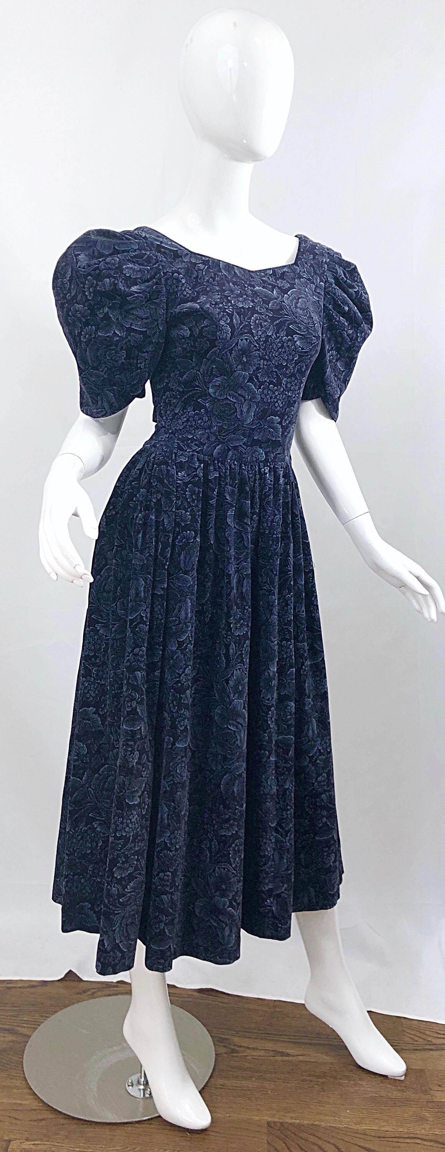 1980s Laura Ashley Batsheva Navy Blue Velvet Open Back Vintage 80s Midi Dress For Sale At 1stdibs