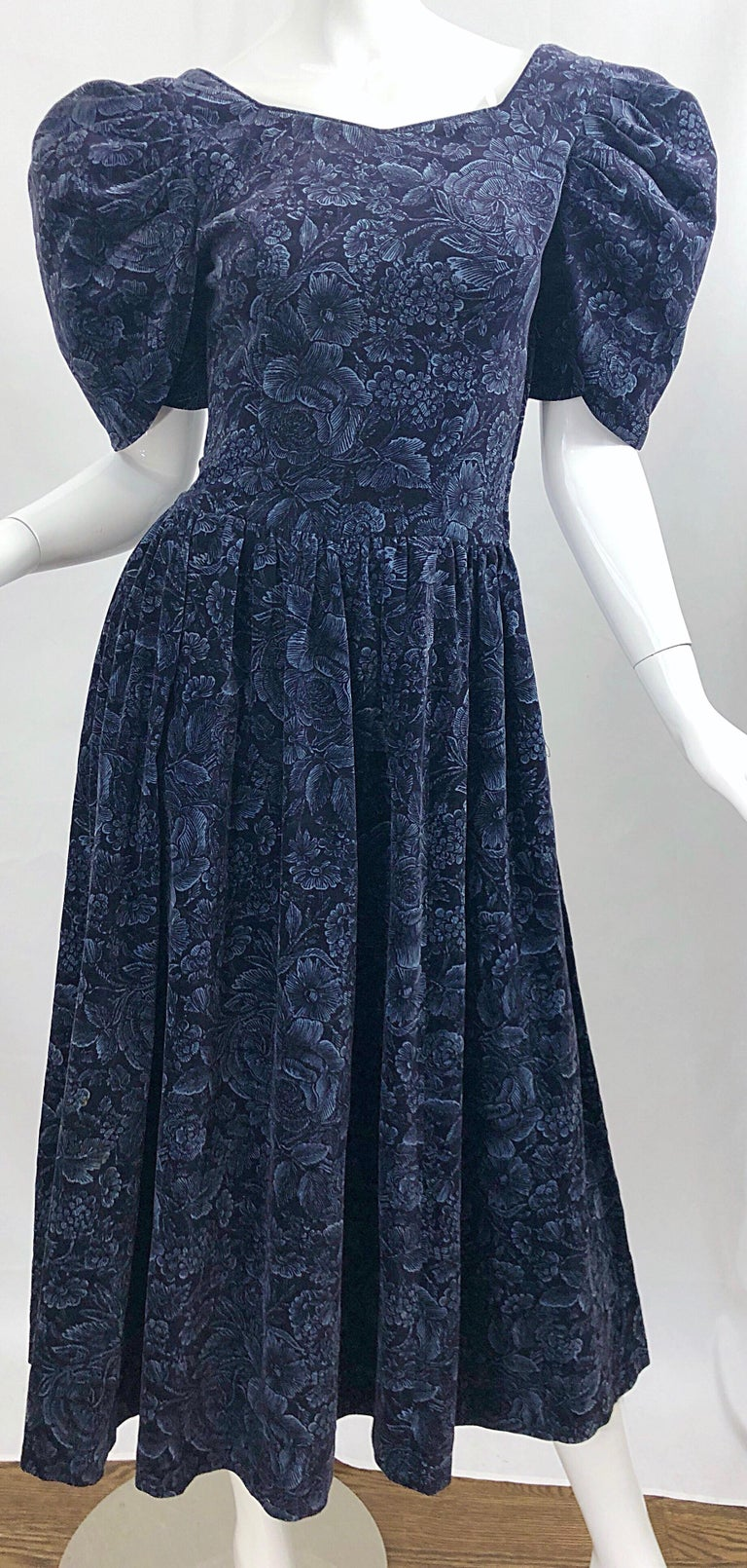 1980s Laura Ashley Batsheva Navy Blue Velvet Open Back Vintage 80s Midi Dress  For Sale 10