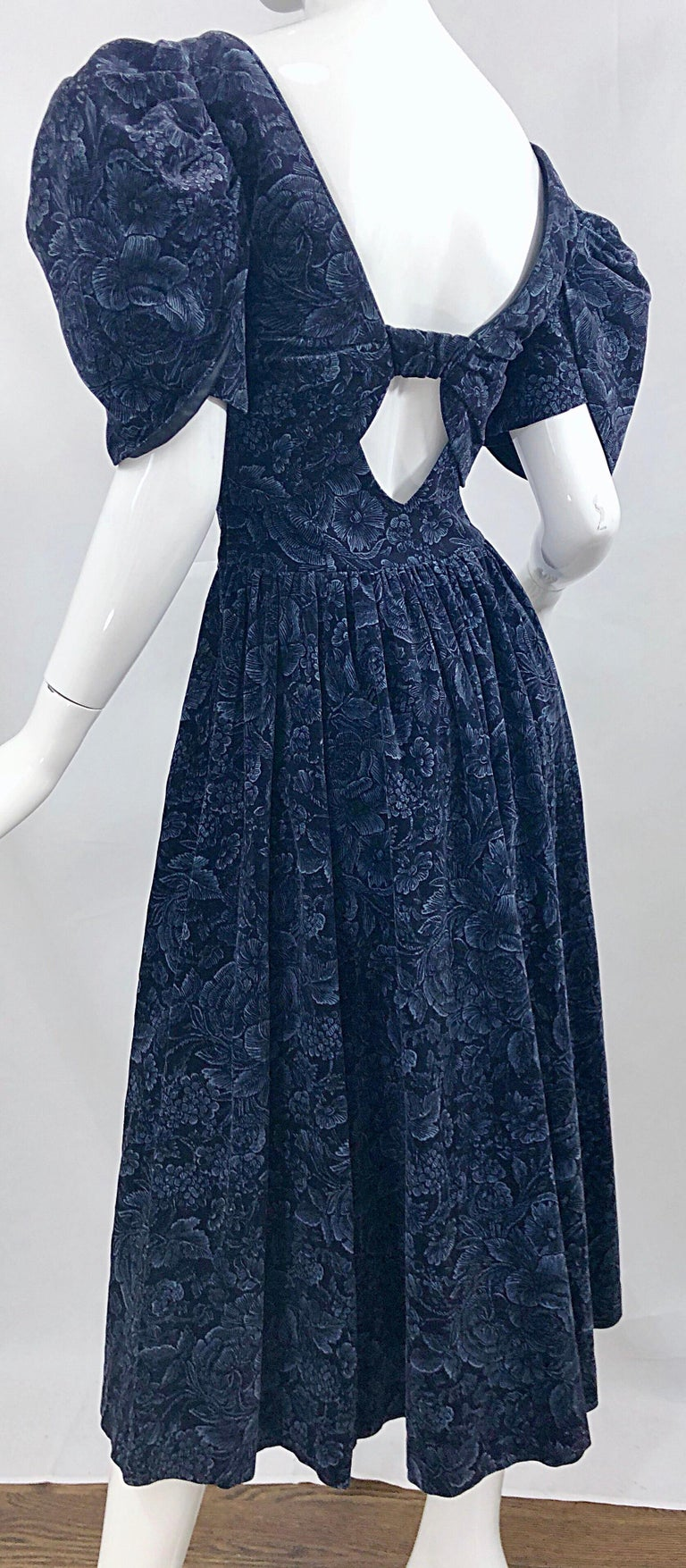 1980s Laura Ashley Batsheva Navy Blue Velvet Open Back Vintage 80s Midi Dress  For Sale 11