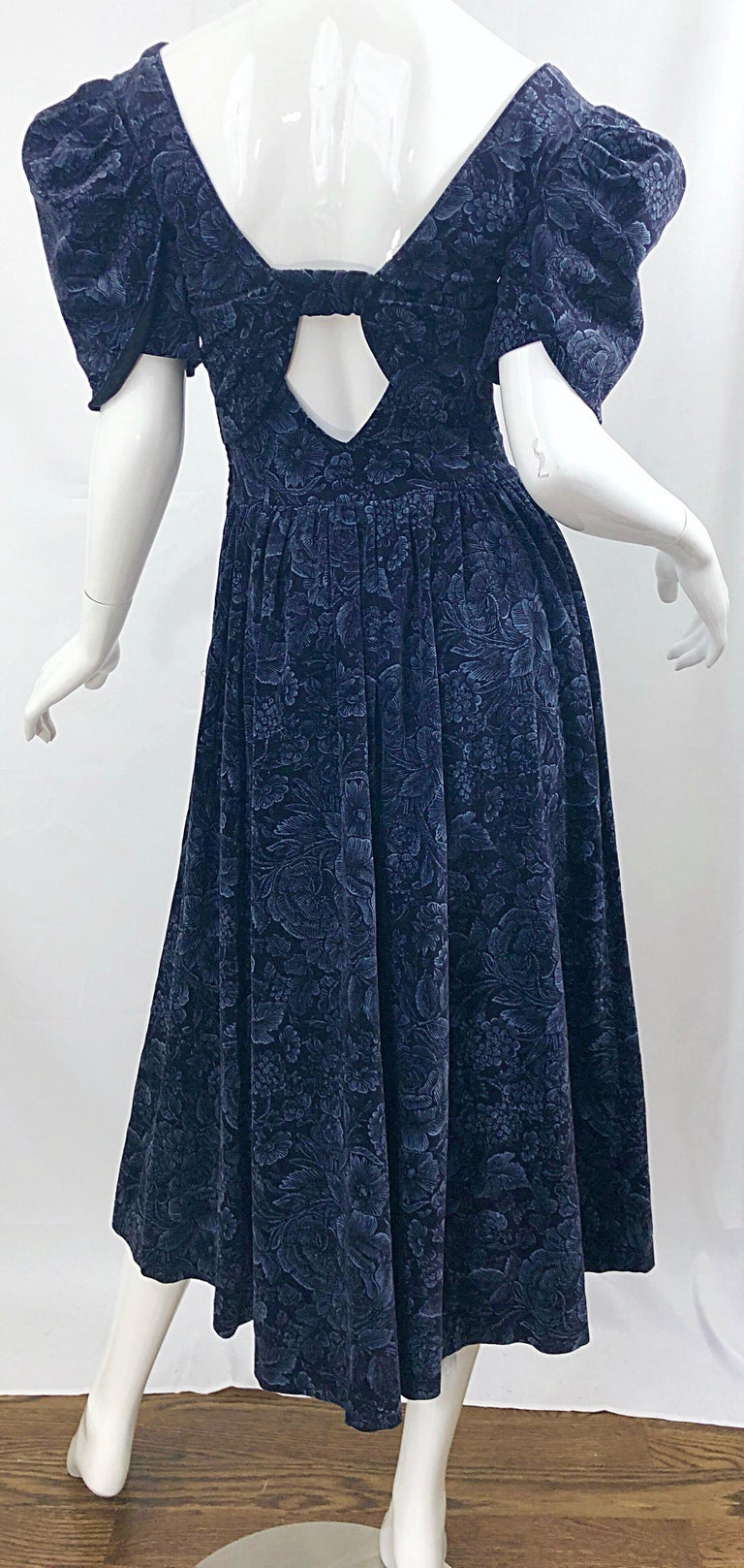 Women's 1980s Laura Ashley Batsheva Navy Blue Velvet Open Back Vintage 80s Midi Dress  For Sale
