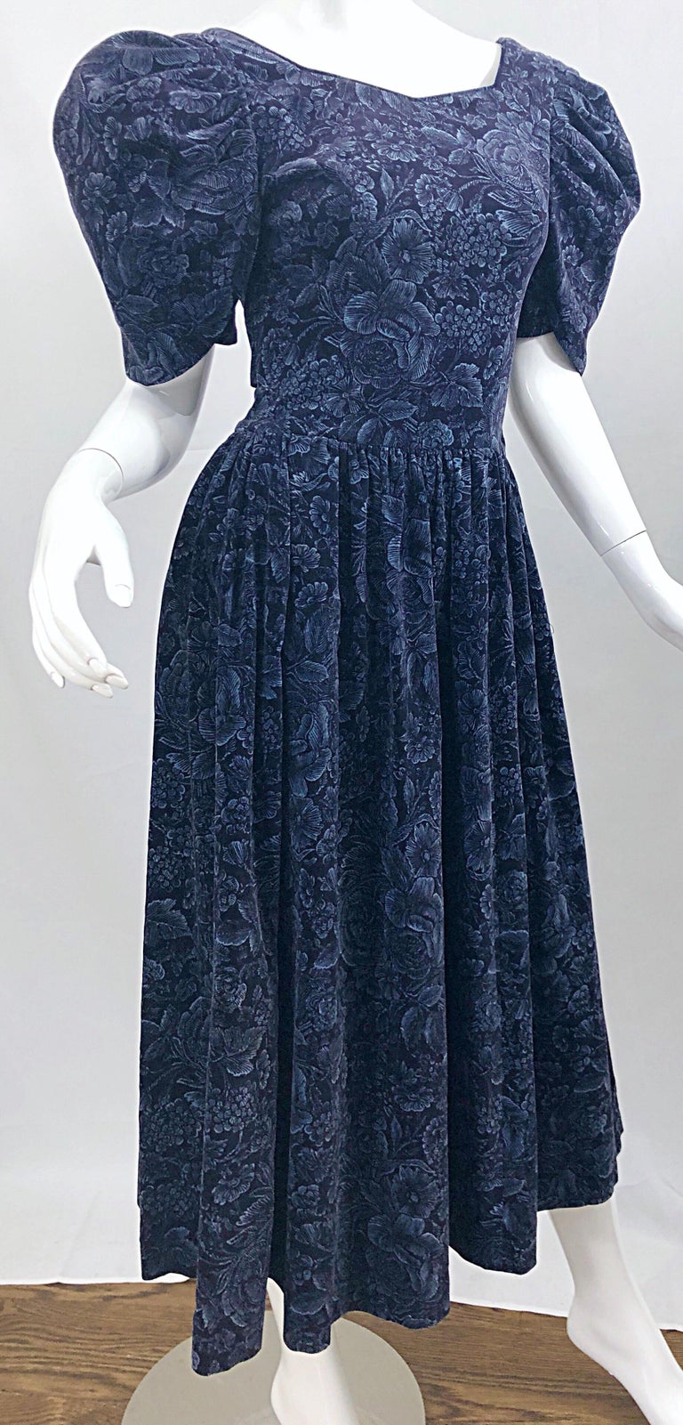 1980s Laura Ashley Batsheva Navy Blue Velvet Open Back Vintage 80s Midi Dress  For Sale 1