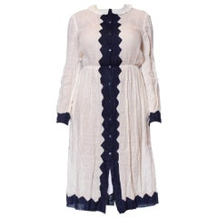 1980S LAURA BIAGIOTTI Blue & White Linen Long Sleeve Shirt Dress With Pockets