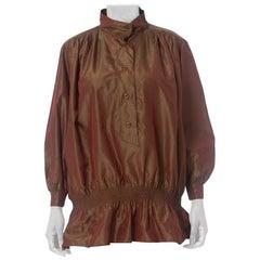 1980S Laura Biagiotti Iridescent Silk Taffeta  Oversized Blouse With Side Pocke