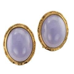 1980s Lavender Jade Gold Earrings