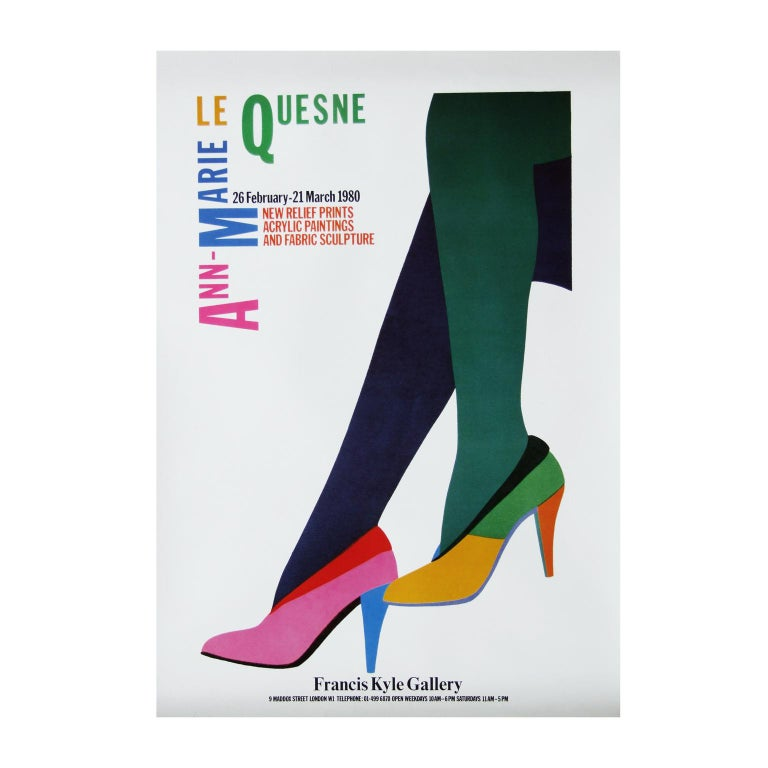 Modern 1980s Le Quesne Art Exhibition Poster Pop Art Heels For Sale