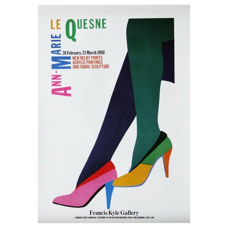 1980s Le Quesne Art Exhibition Poster Pop Art Heels For Sale