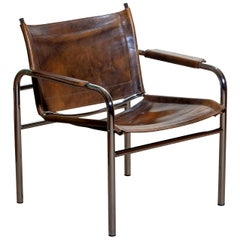 1980s Leather and Tubular Steel Armchair by Tord Bjorklund, Sweden 1