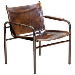 1980s Leather and Tubular Steel Armchair by Tord Björklund, Sweden
