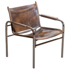 1980s Leather and Tubular Steel Armchair by Tord Bjorklund, Sweden