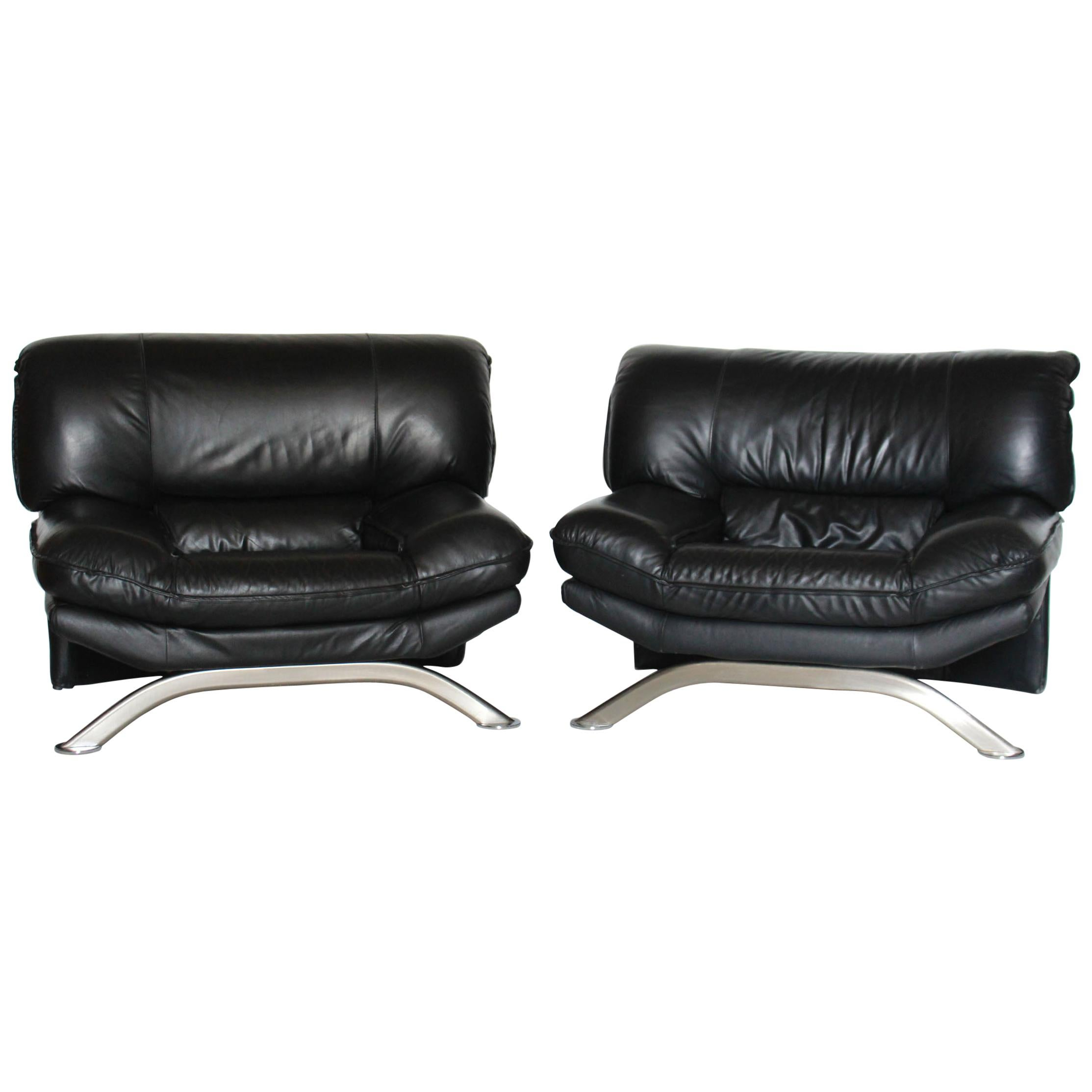 1980s Leather Vintage Armchairs, Set of Two