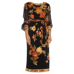 1980S LEONARD Black & Brown Silk Jersey Dress With Chiffon Sleeves Belt