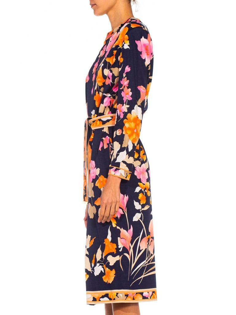 Black 1980S LEONARD Multicolor Silk Jersey Long Sleeve Floral Dress With Belt For Sale
