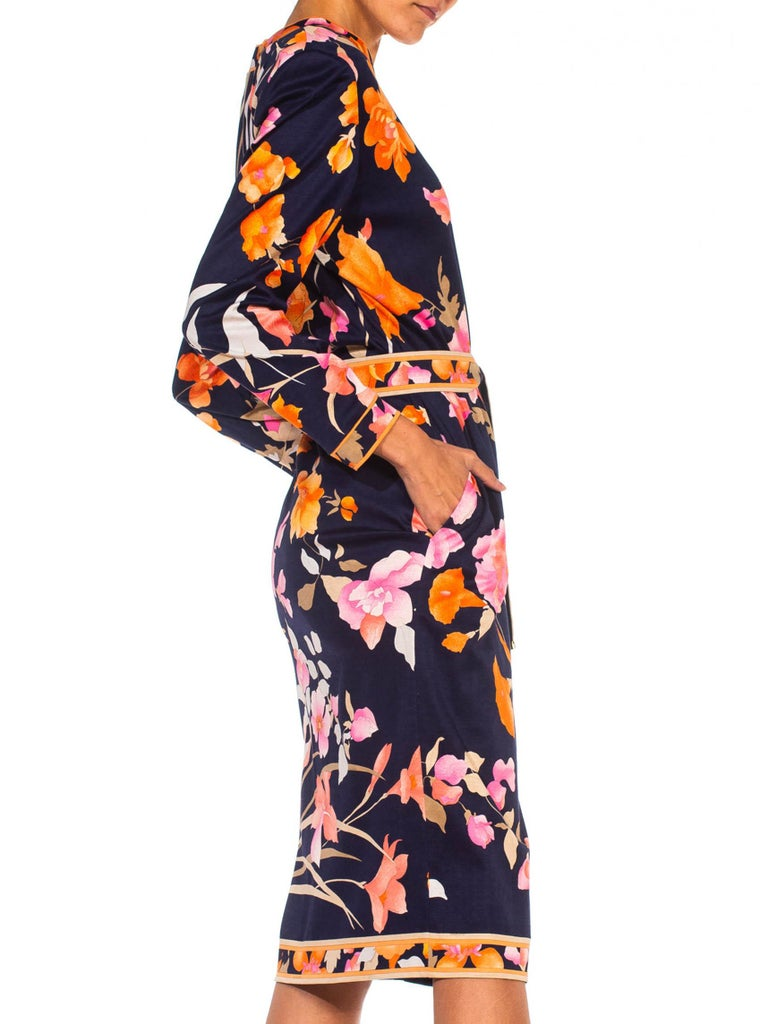 1980S LEONARD Multicolor Silk Jersey Long Sleeve Floral Dress With Belt In Excellent Condition For Sale In New York, NY