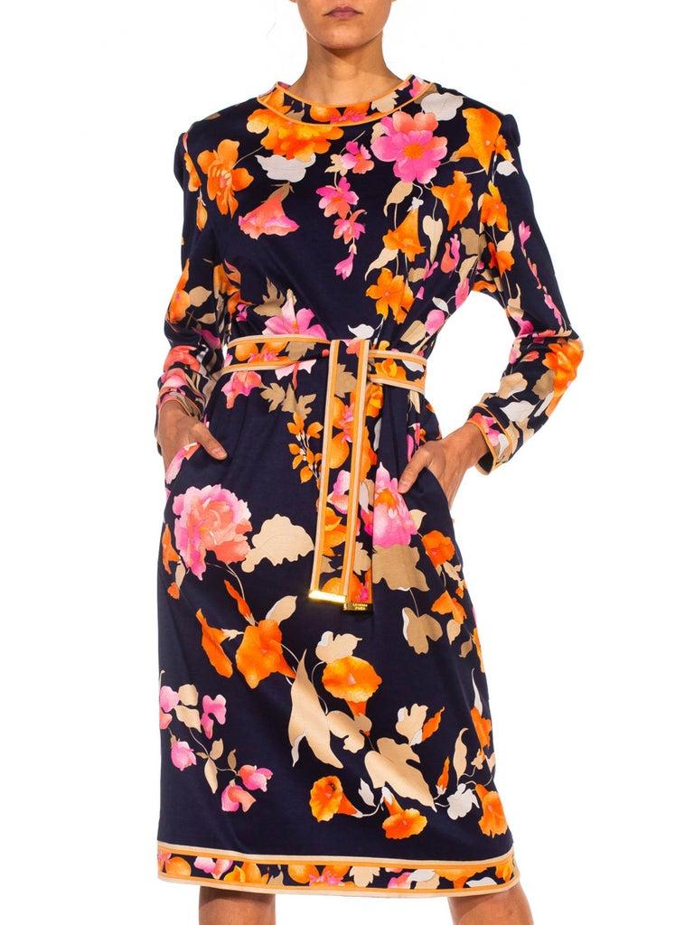 1980S LEONARD Multicolor Silk Jersey Long Sleeve Floral Dress With Belt For Sale 1