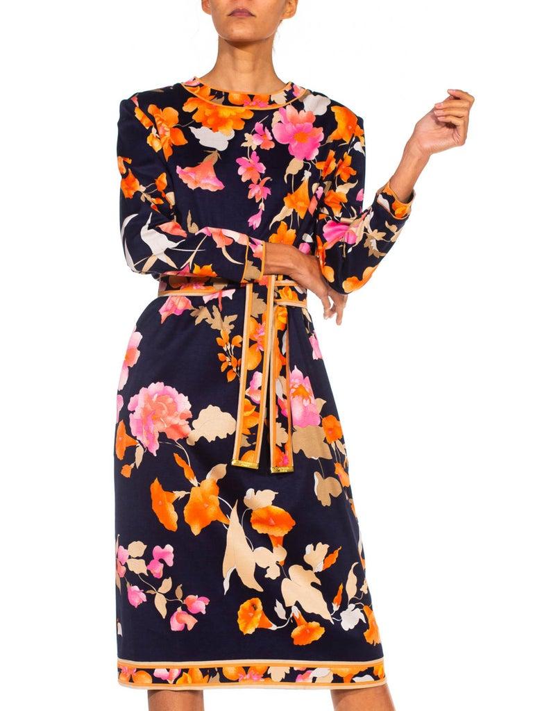 1980S LEONARD Multicolor Silk Jersey Long Sleeve Floral Dress With Belt For Sale 2