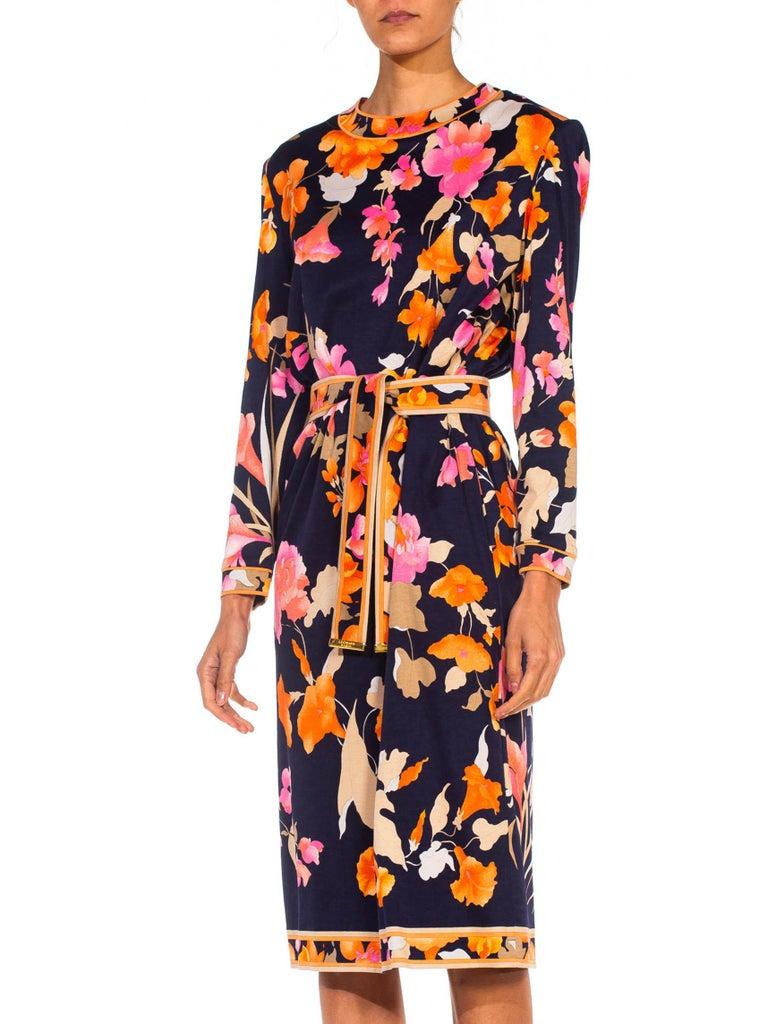 1980S LEONARD Multicolor Silk Jersey Long Sleeve Floral Dress With Belt For Sale 3