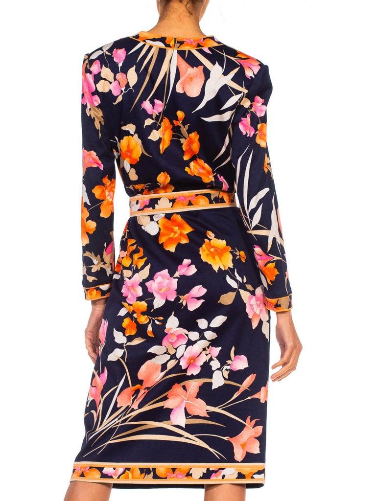 1980S LEONARD Multicolor Silk Jersey Long Sleeve Floral Dress With Belt For Sale 5